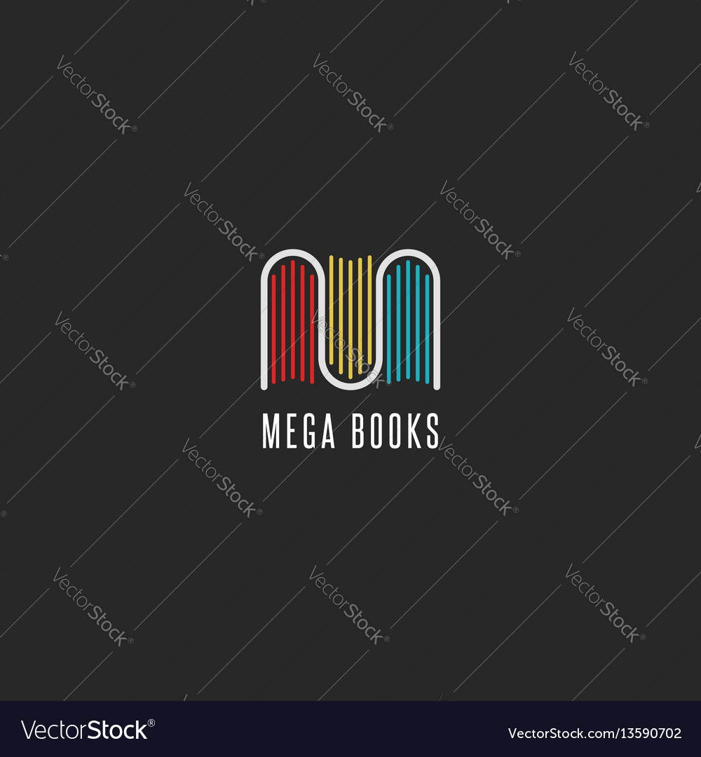 Bookstore logo idea colorful books logotype in vector image
