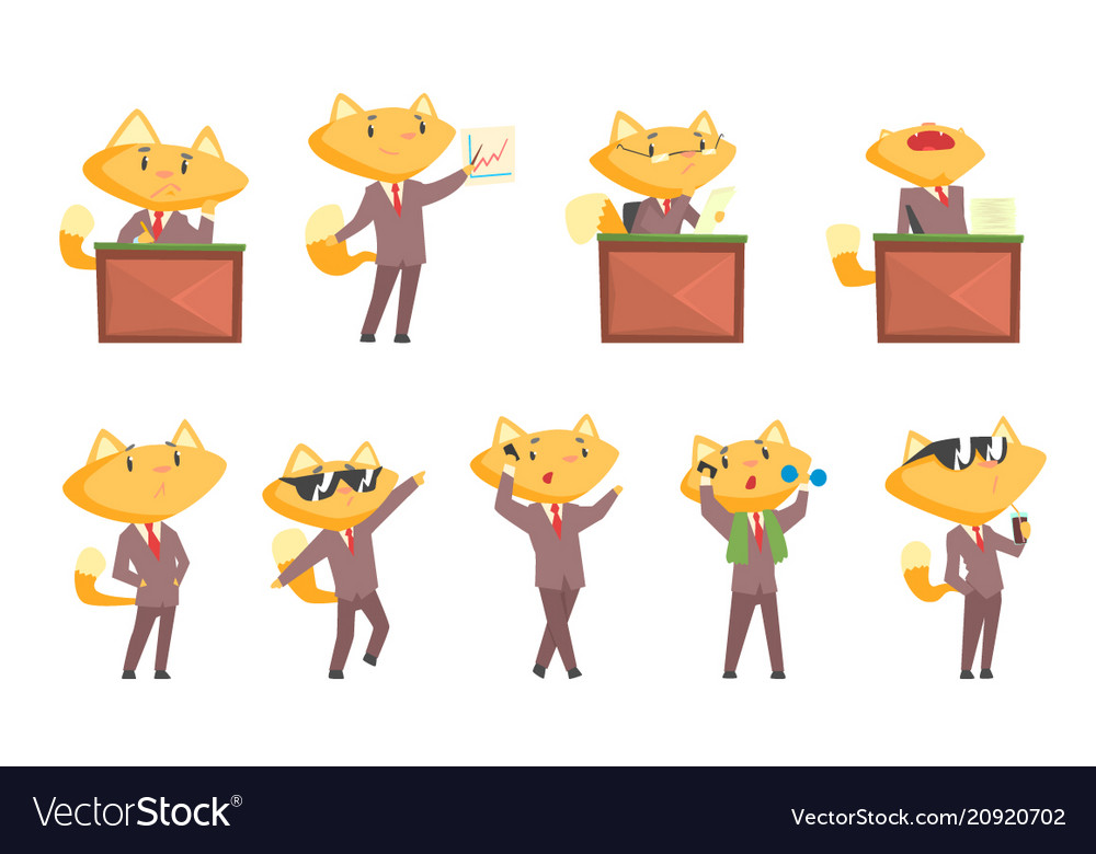 Cute businessman fox character at work and rest