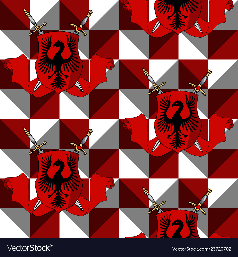 Elegant heraldic shield with swords ribbon on red