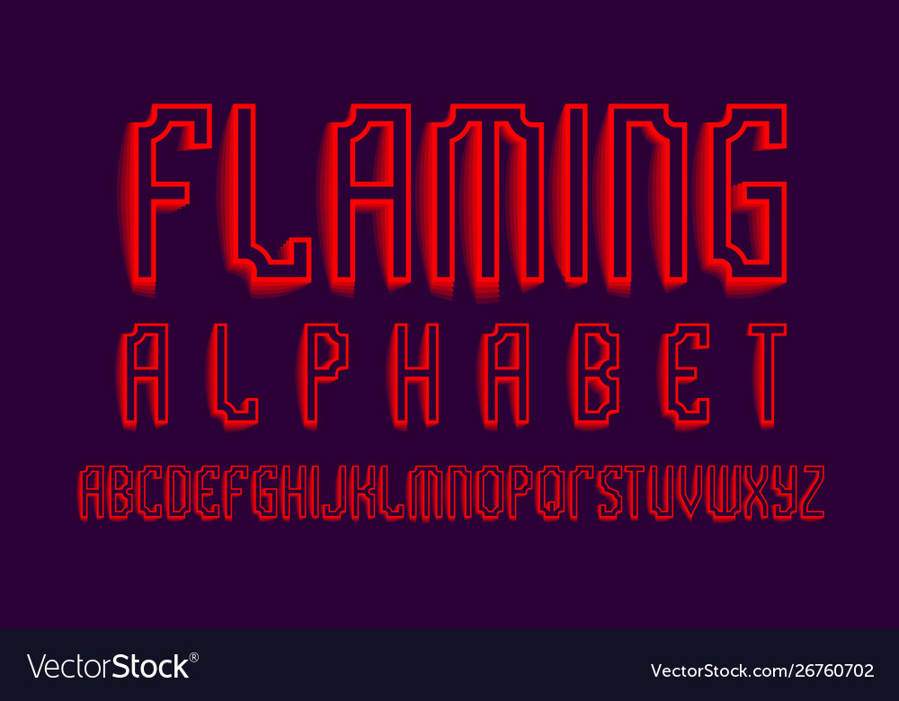 Flaming alphabet red shades artistic font