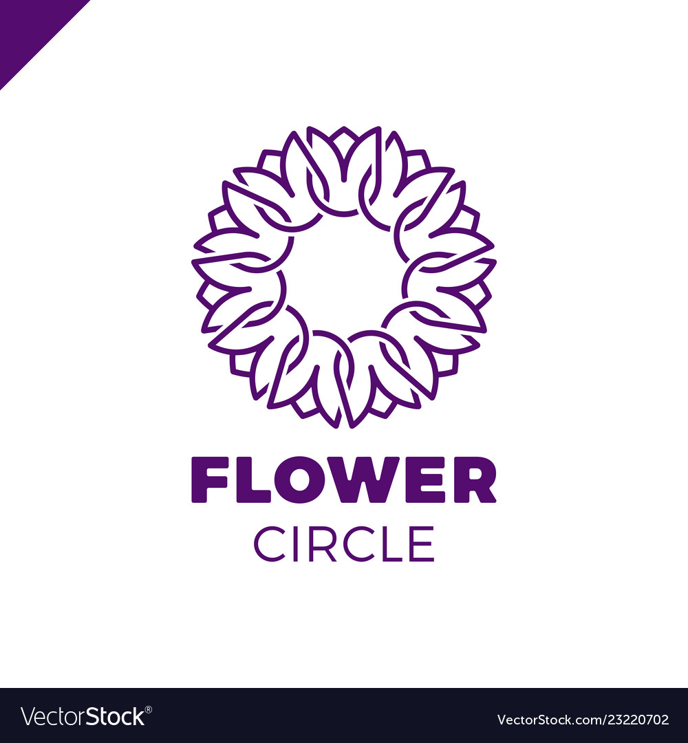 Flower logo circle abstract design template tulip