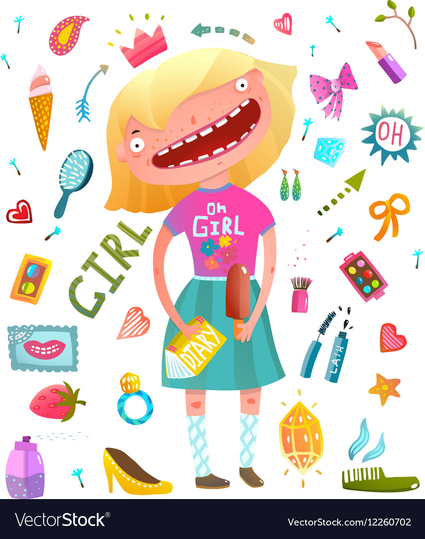 Girlish clip art collection with teenager girl and
