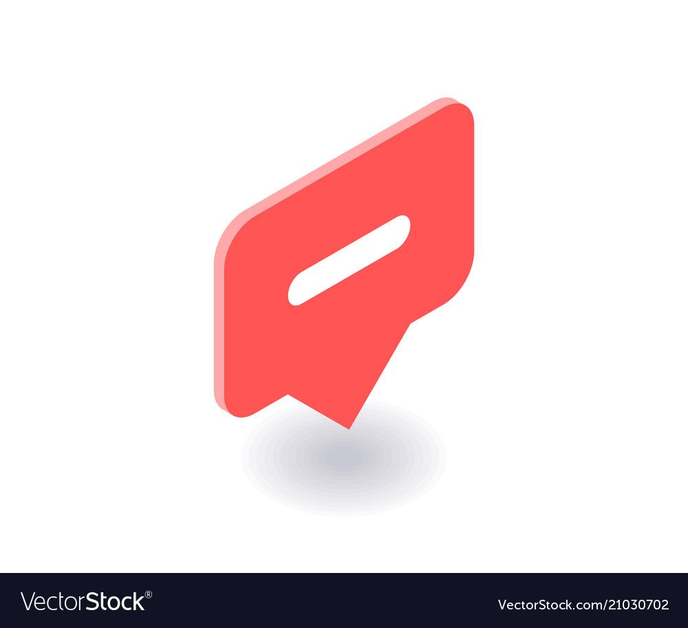 Minus icon symbol in flat isometric 3d