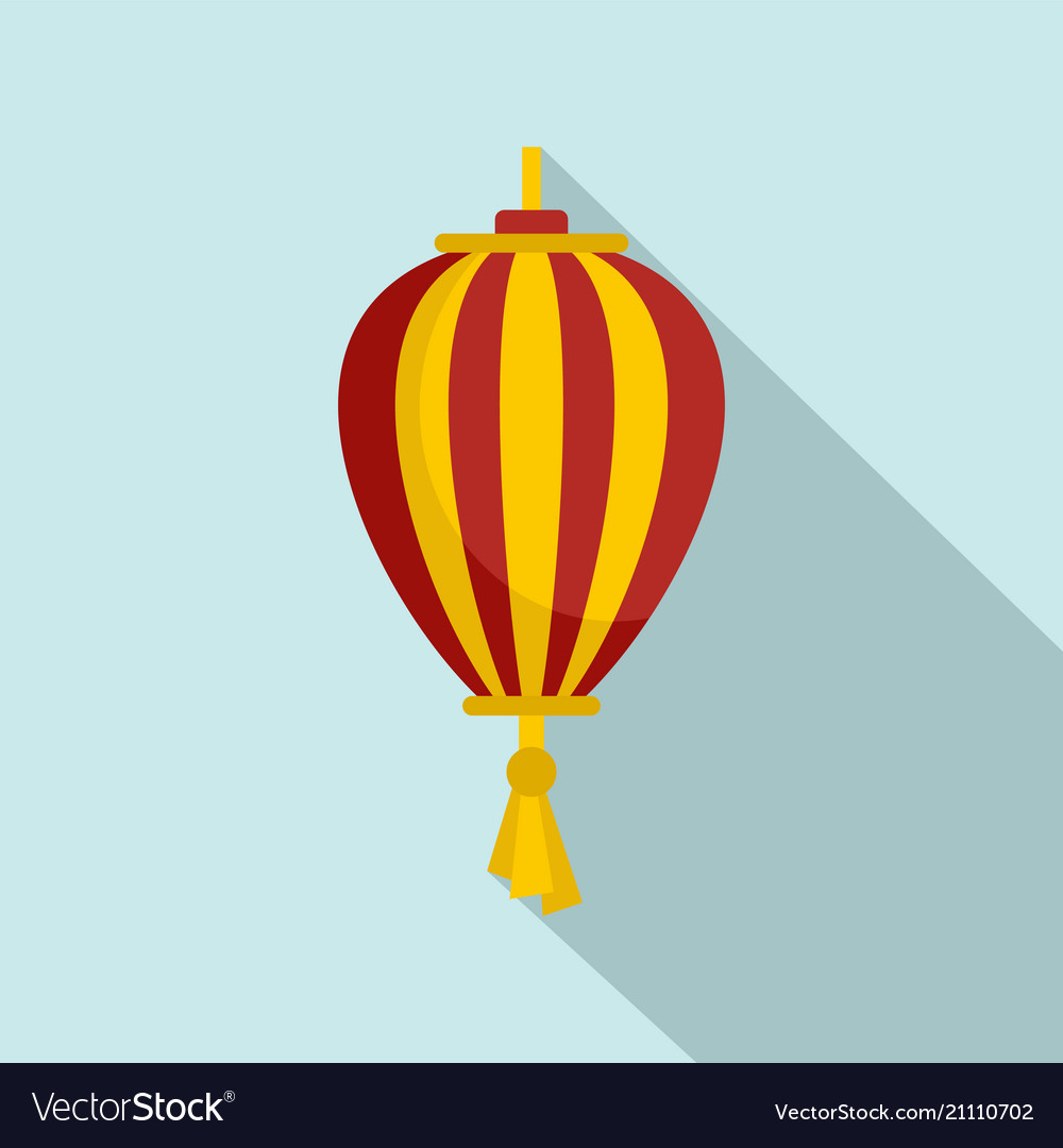 Outdoor asian lantern icon flat style