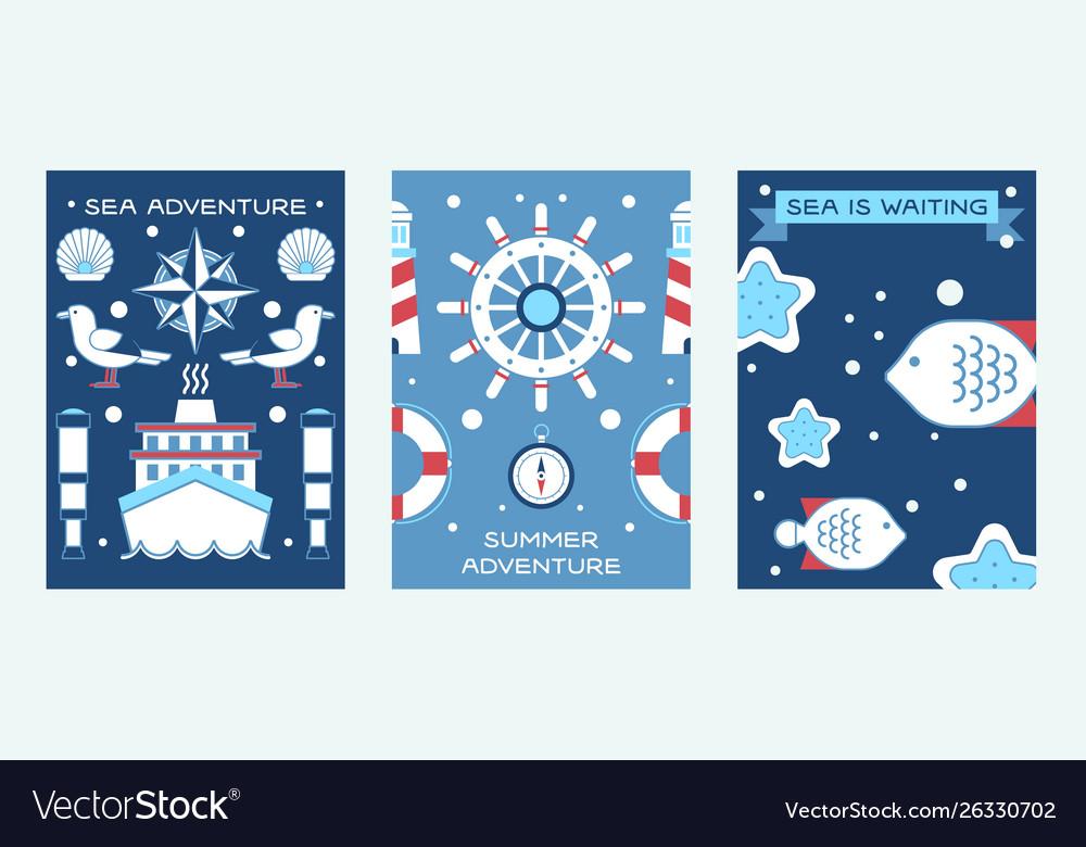 Sea summer adventure set posters
