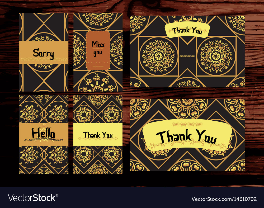 Thank you miss you sorry cards set isolated on
