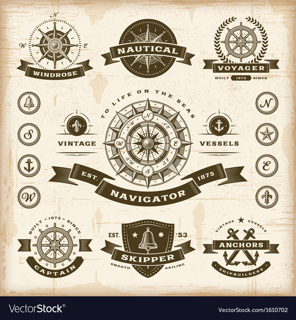Vintage nautical labels set vector image