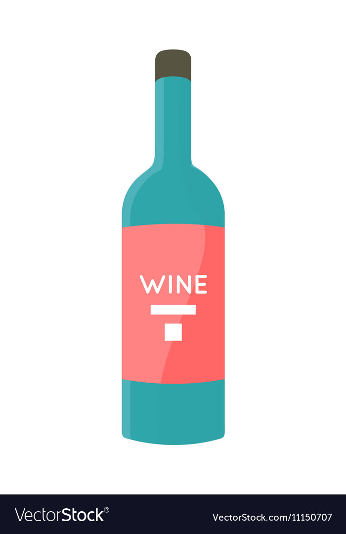 Bottle with Alcohol in Flat Style Design