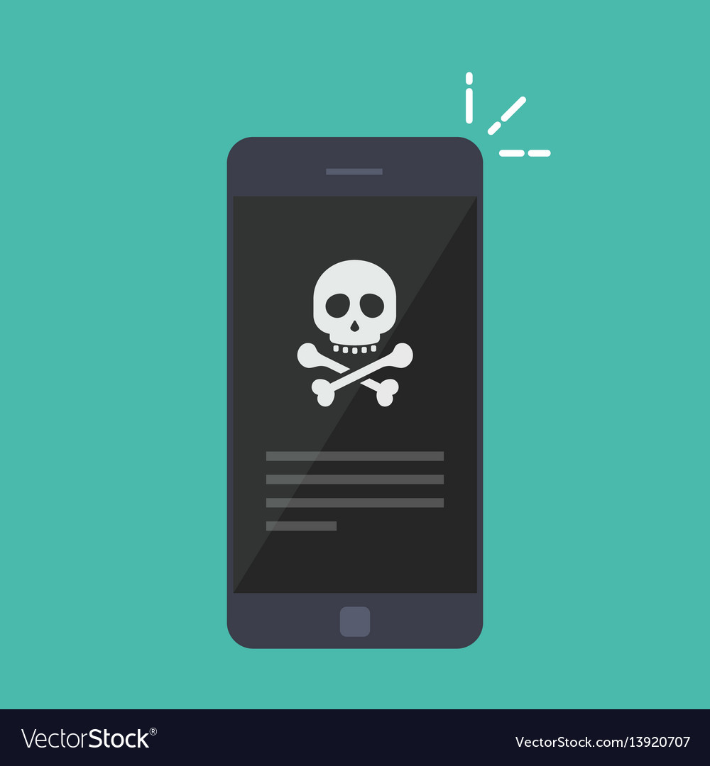 Broken smartphone malware notification on