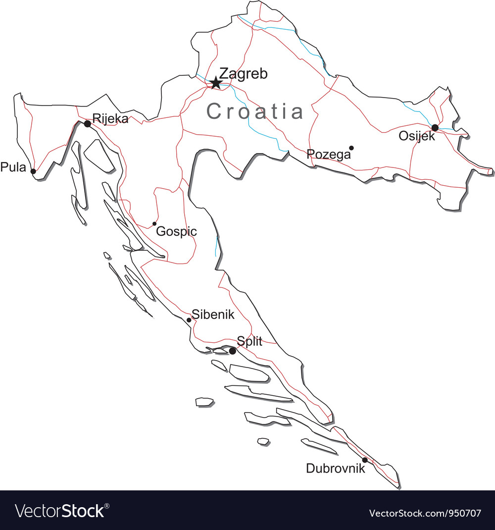 Croatia Black White Map Royalty Free Vector Image