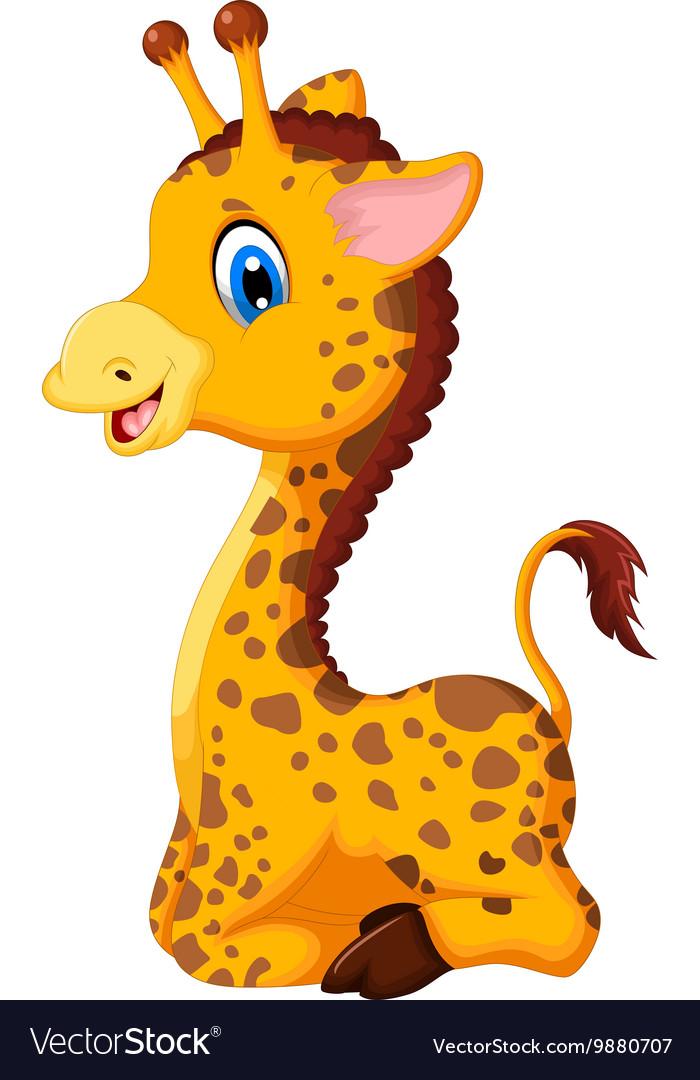 Cute Baby Giraffe Cartoon Sitting For You Design Vector Image