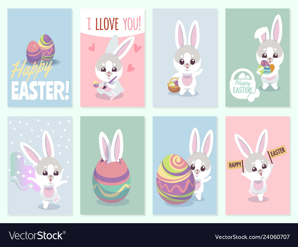 Easter rabbit cards baby rabbits cute and color