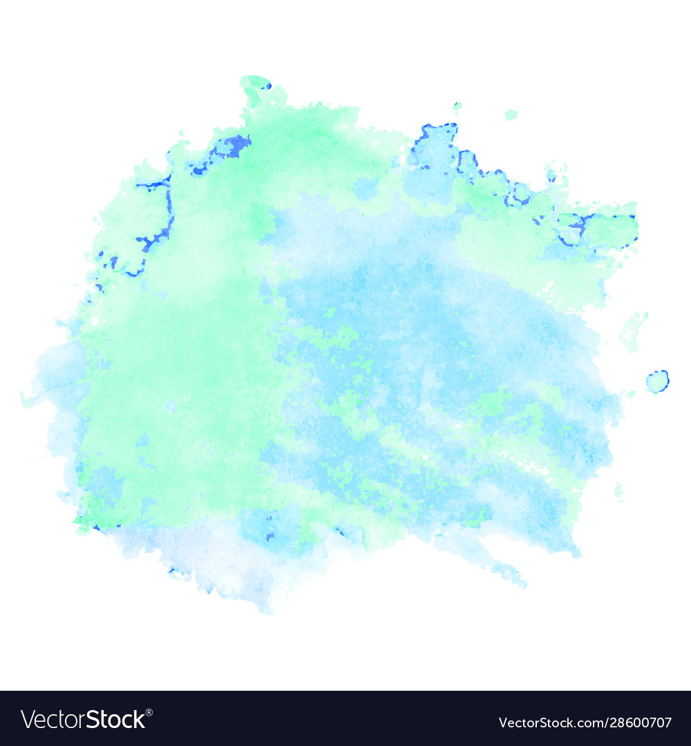Green and blue watercolor stain isolated on white