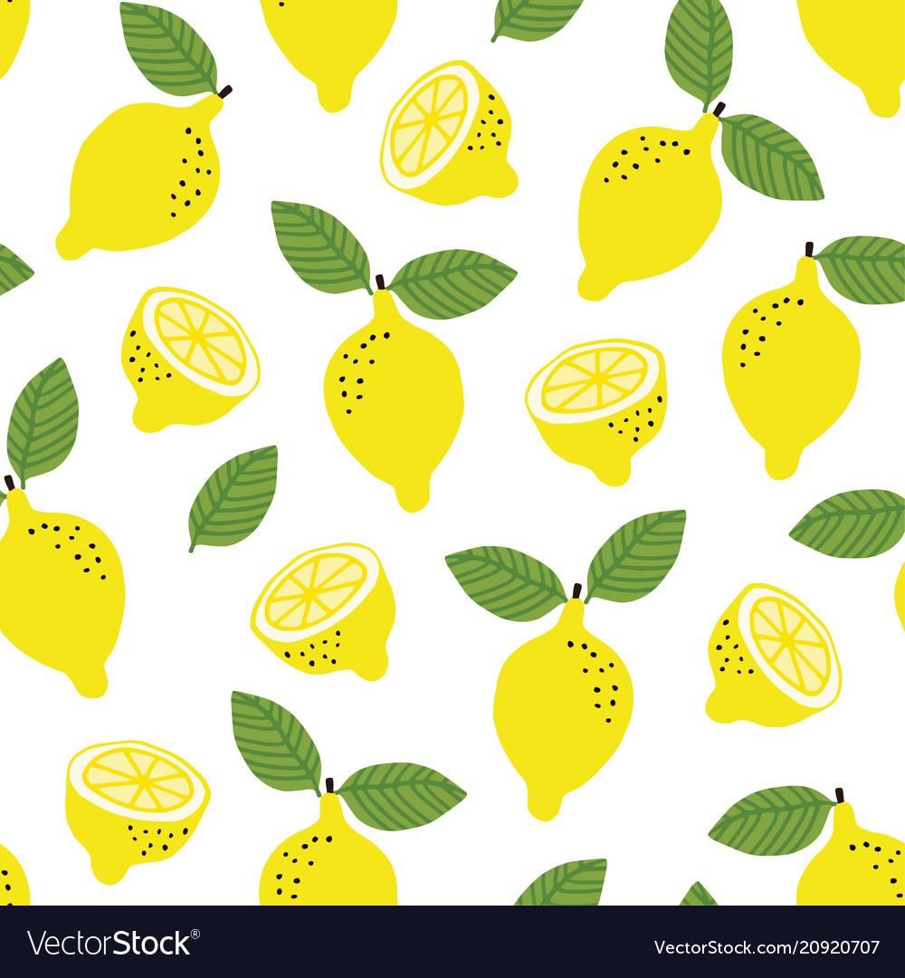 Hand drawn seamless pattern with yellow lemon