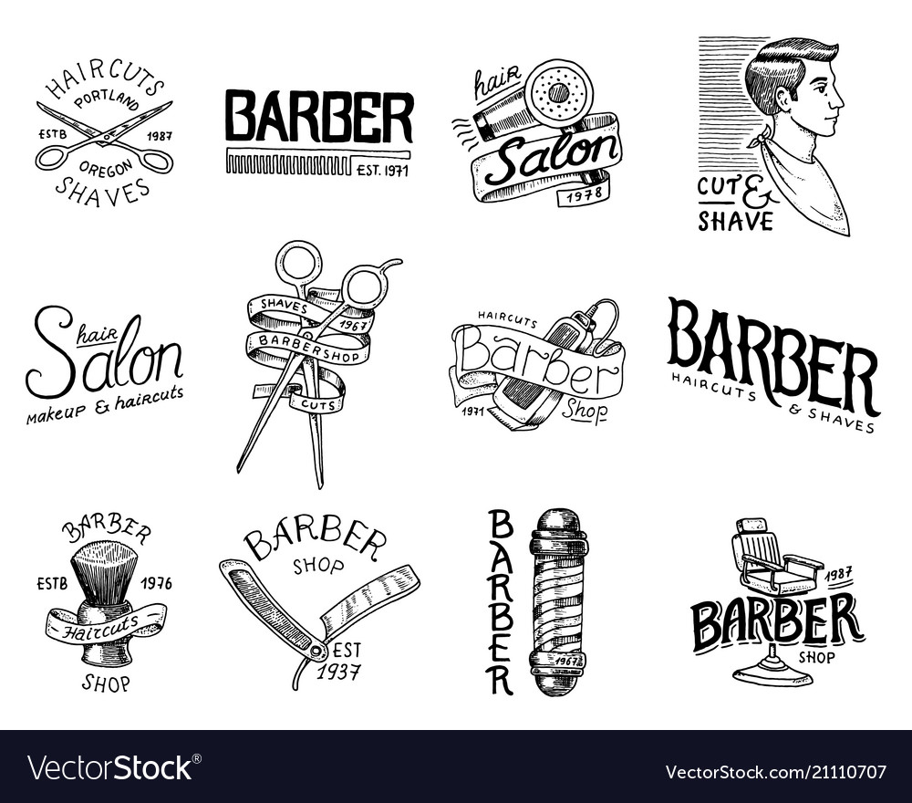 Set of barbershop badge and label logo and