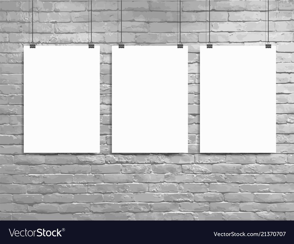 Brick Wall Frame Mockup Vertical White Poster Mockup Poster Mockup on Brick Background White Poster Frame Mock up