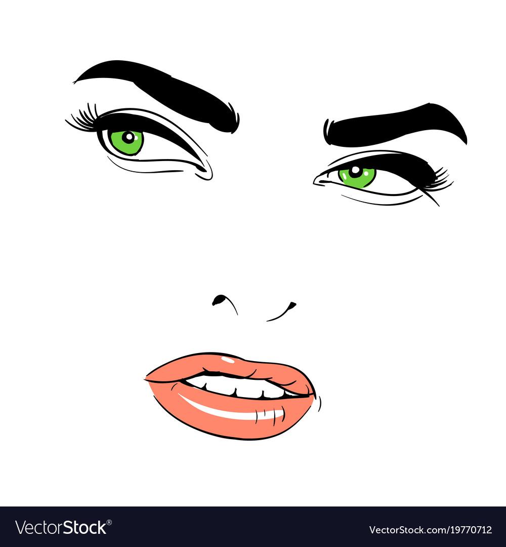 A woman s face green-eyed shrewd