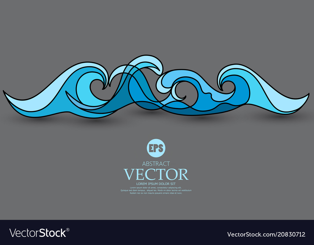 Abstract blue wave on a gray vector image