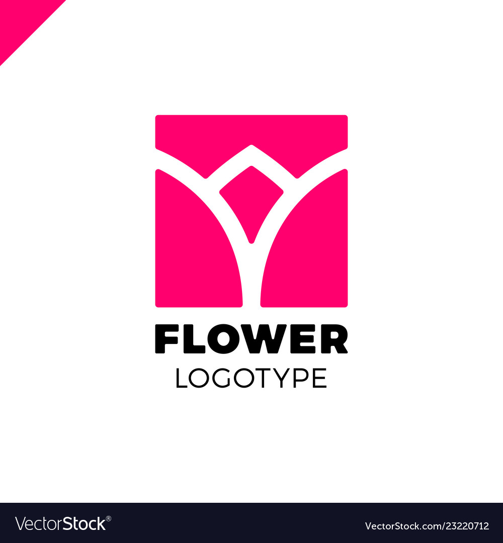 Abstract flower tulip logo in square icon design