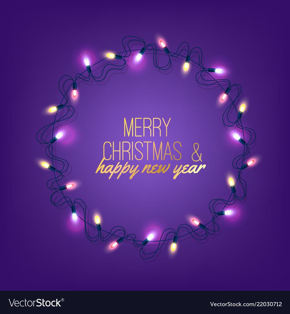 Christmas light realistic garland on purple