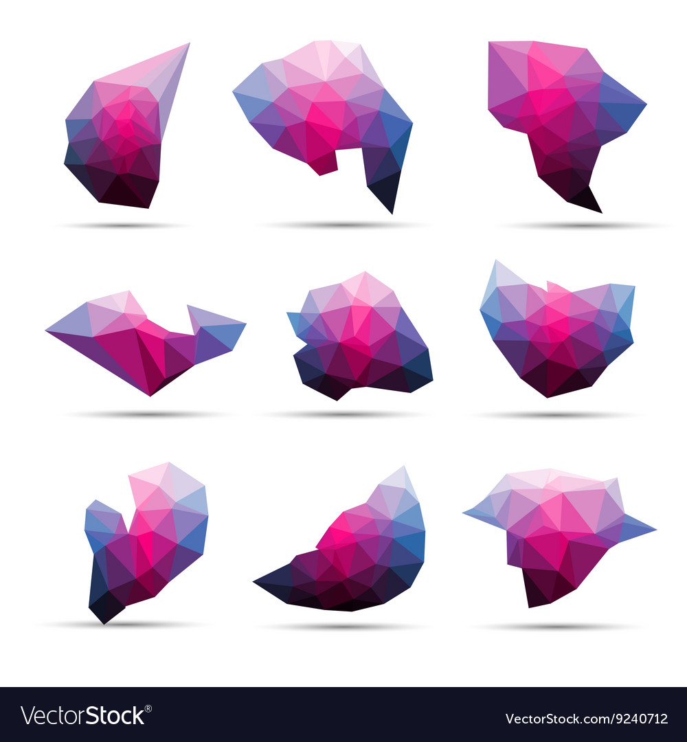 Colorful abstract geometric 3d stone shape