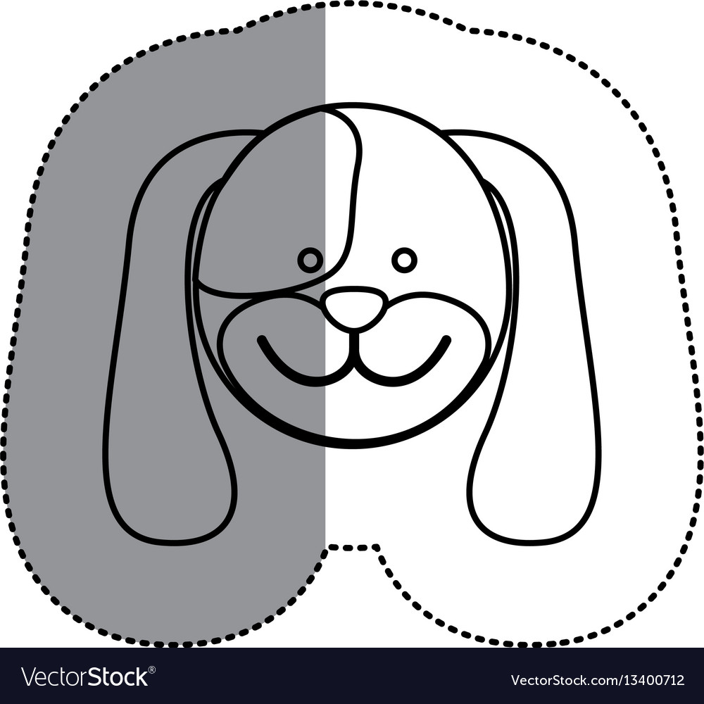 Contour face dog icon vector image