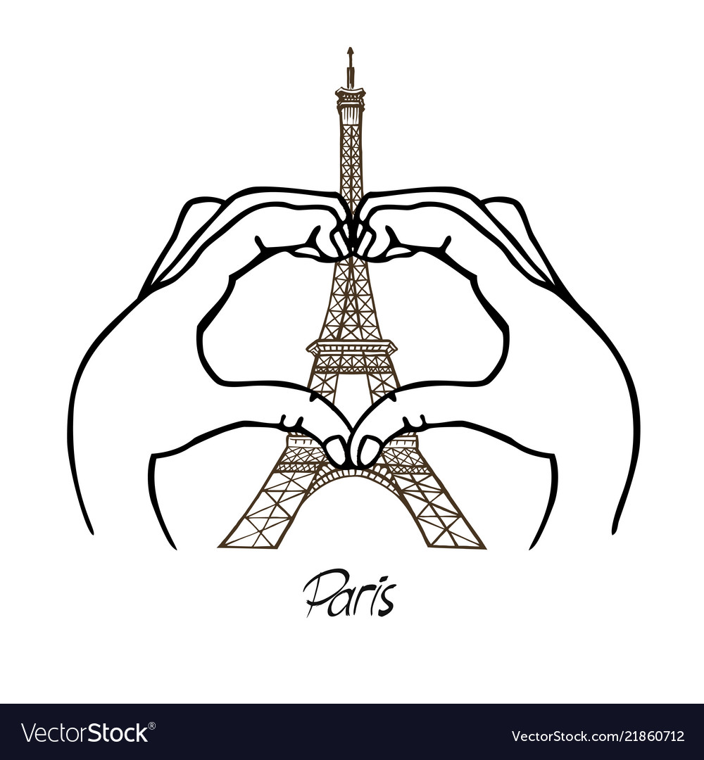 Hands in shape heart and eiffel