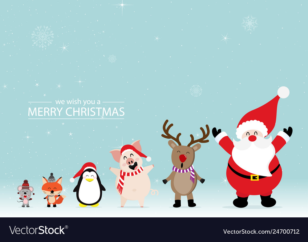 Merry christmas greeting card with rats foxes