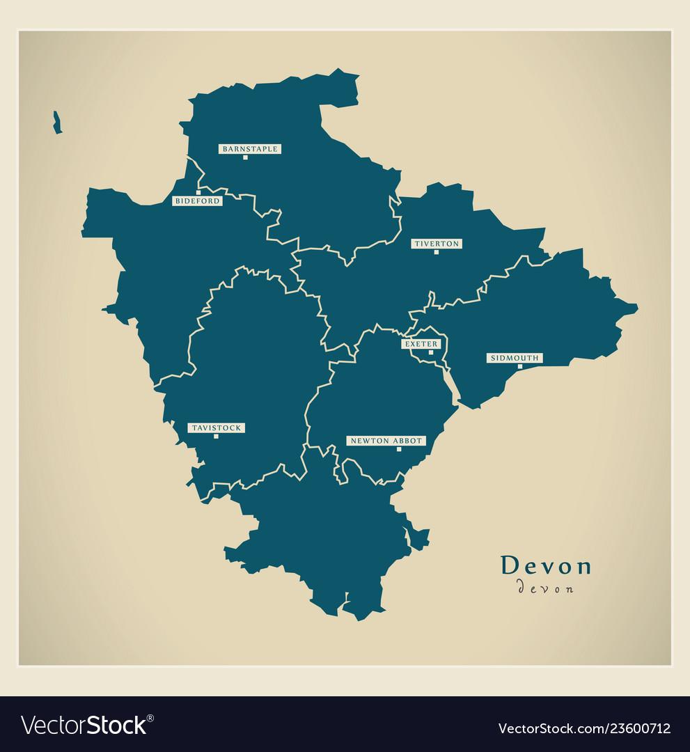 Map Of Uk Devon.Modern Map Devon With Districts Uk