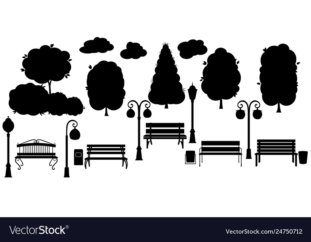 Set black object for city park silhouette tree