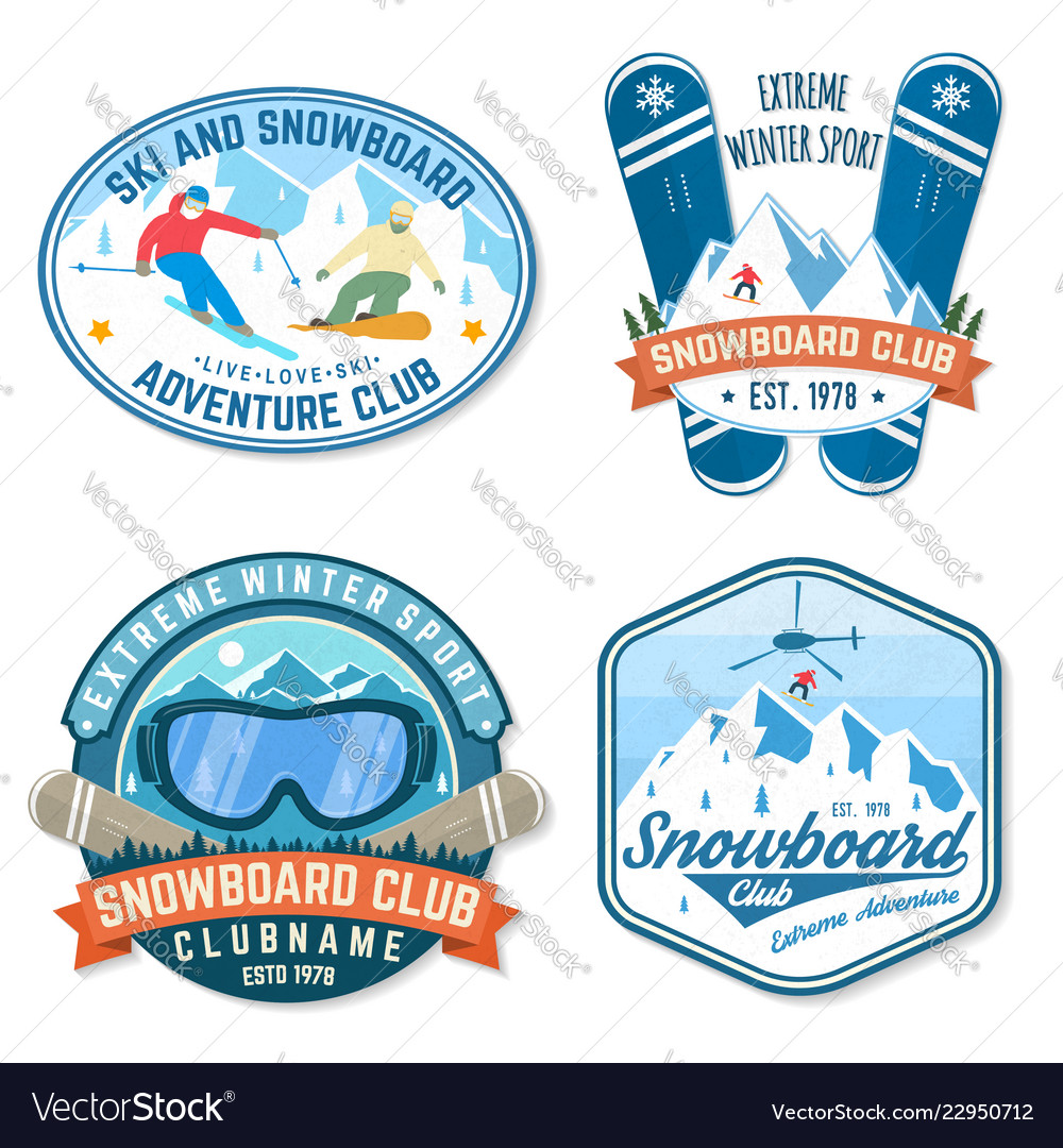 Set of snowboard club patches concept for