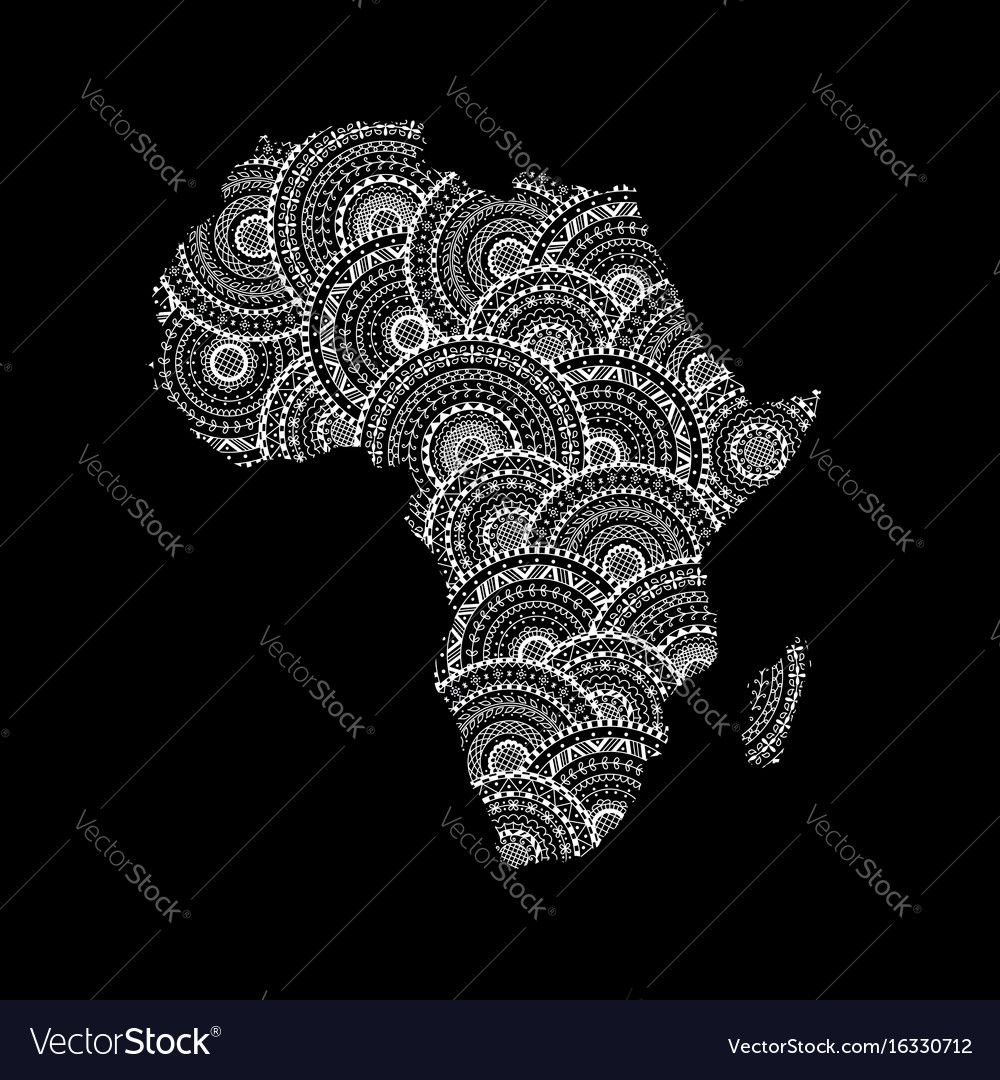 Silhouette of africa and madagascar map vector image