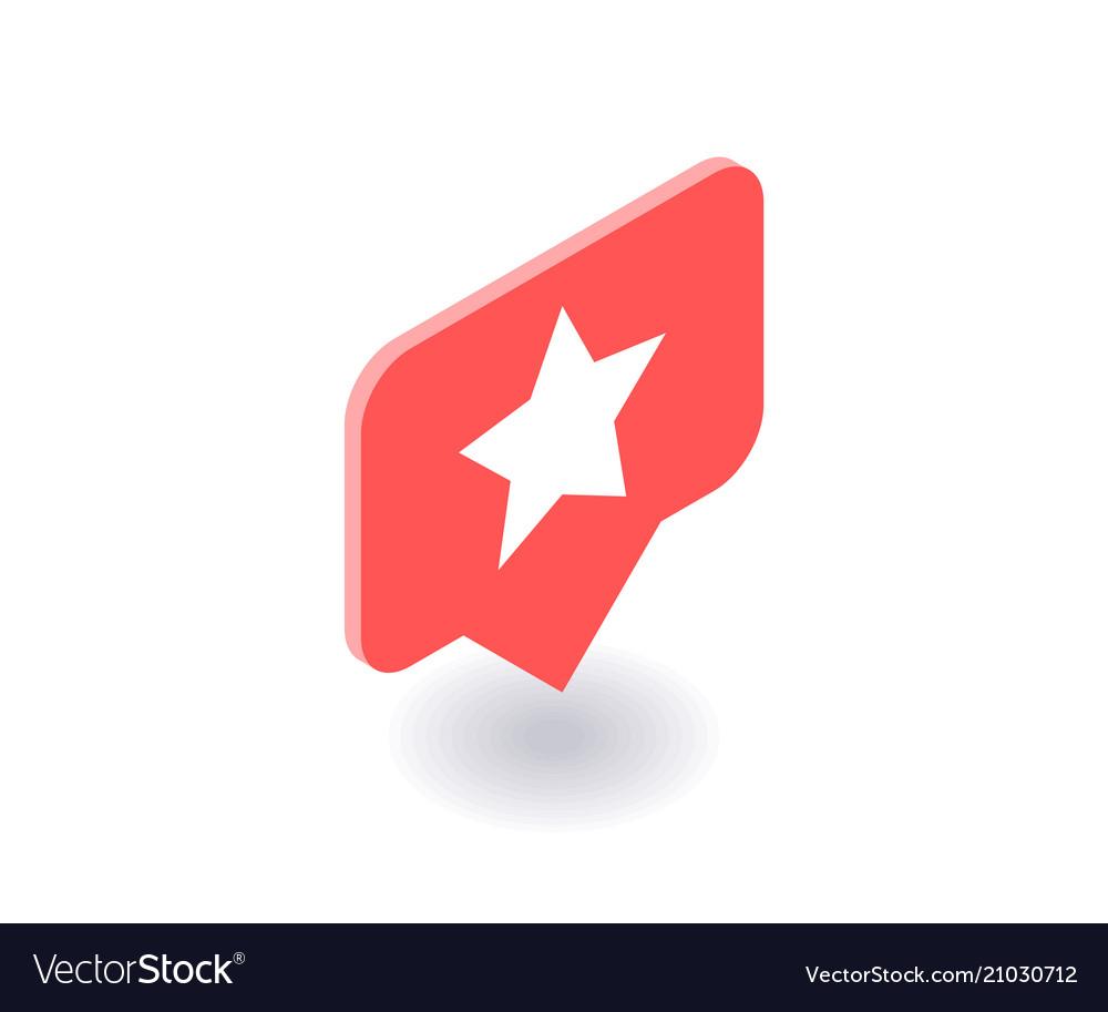 Star icon symbol in flat isometric 3d