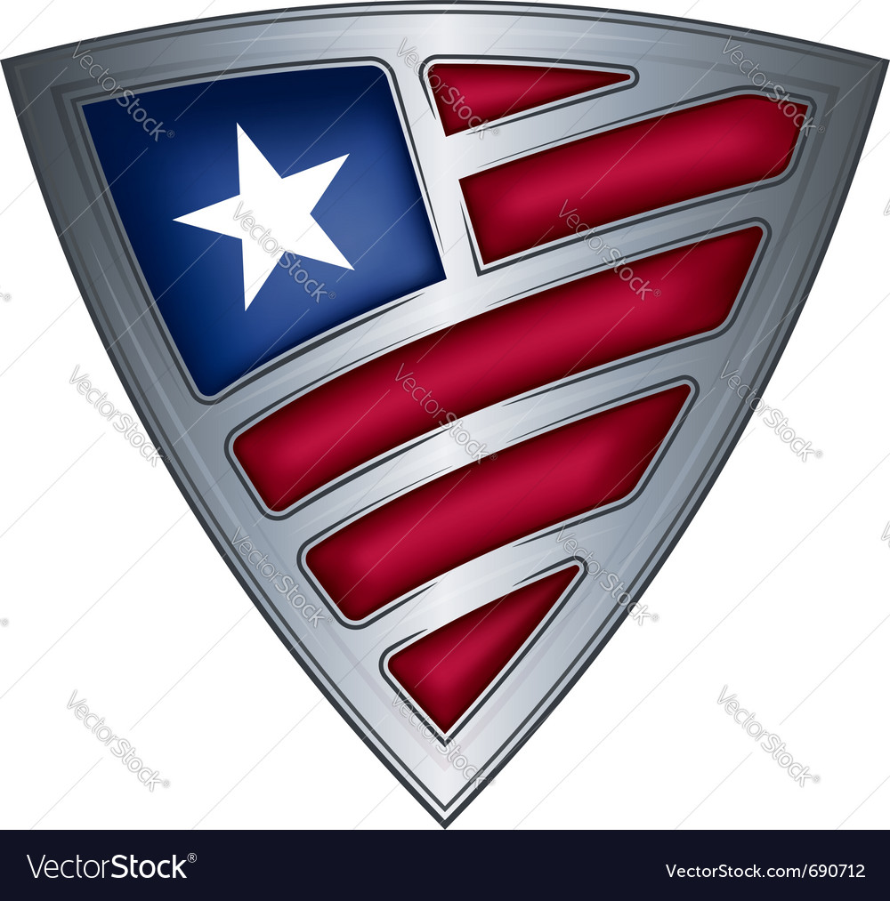 Steel shield with flag liberia vector image