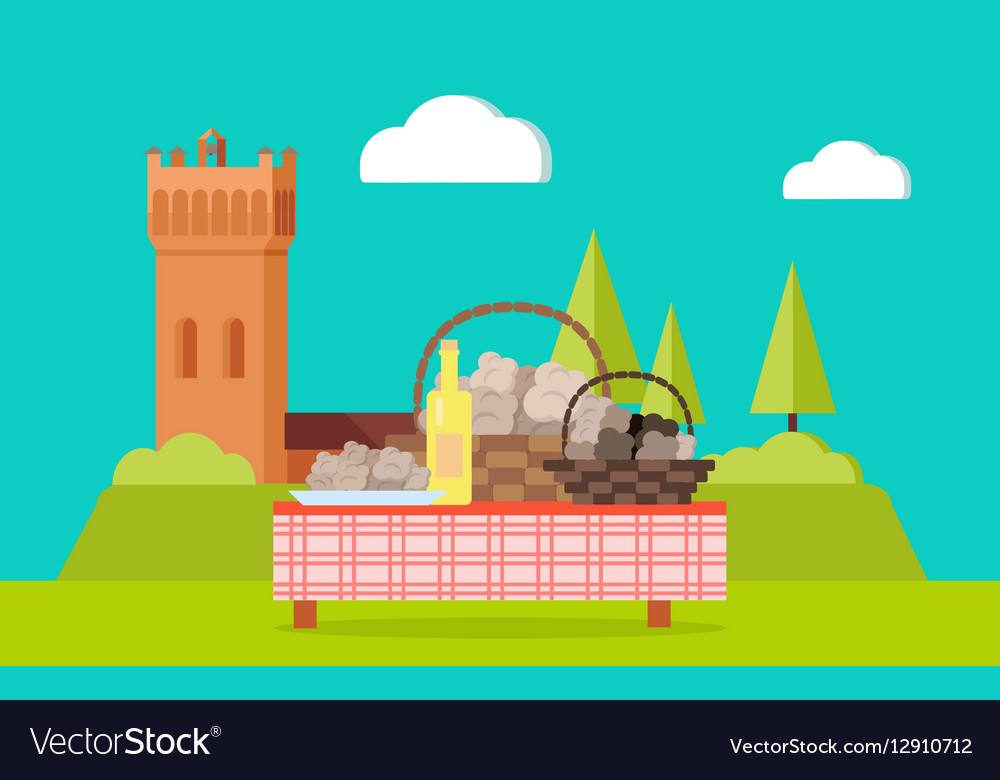 Table with Bottle of Wine Abstract Food Isolated vector image