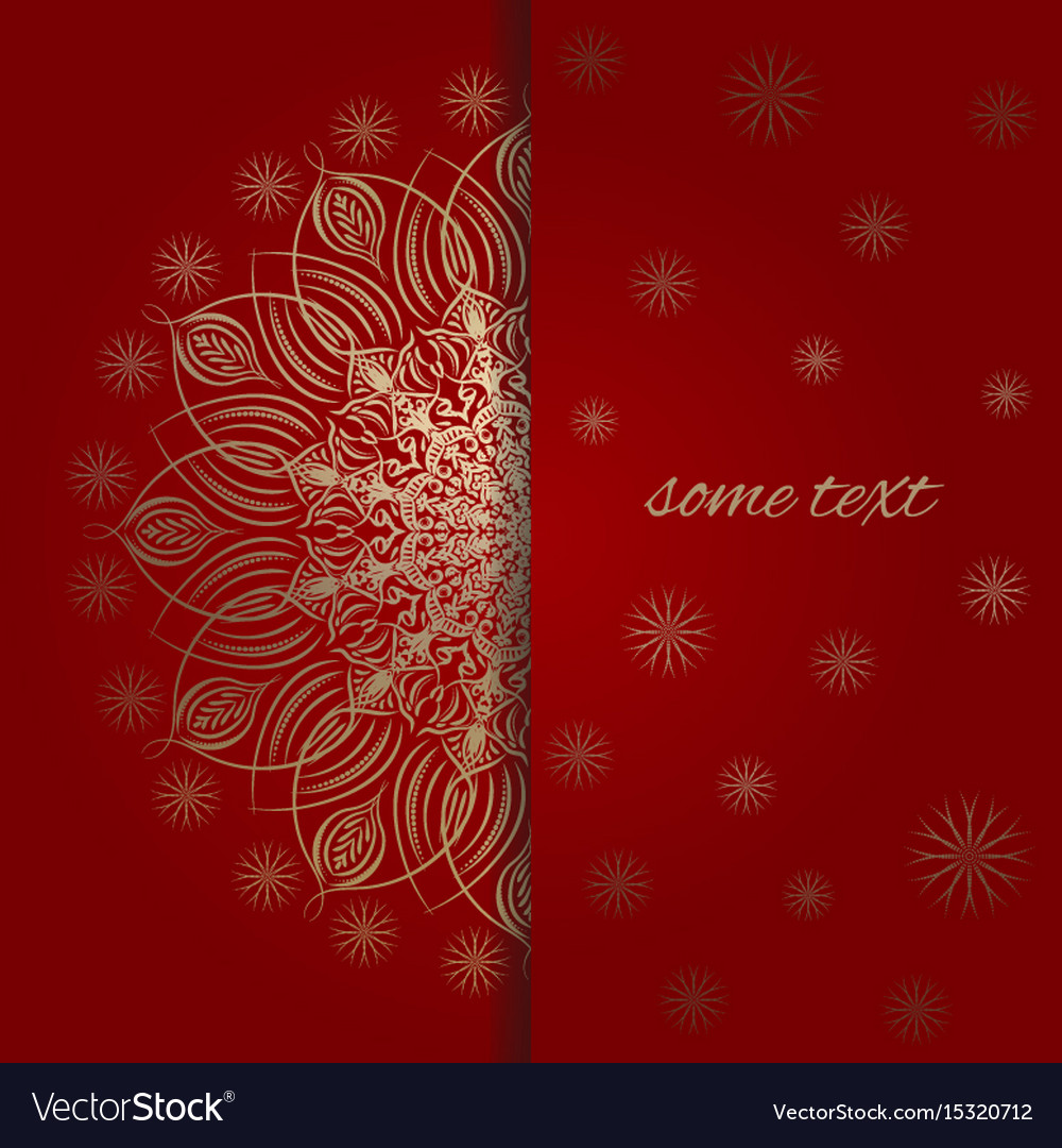 The template for greeting card in red and gold
