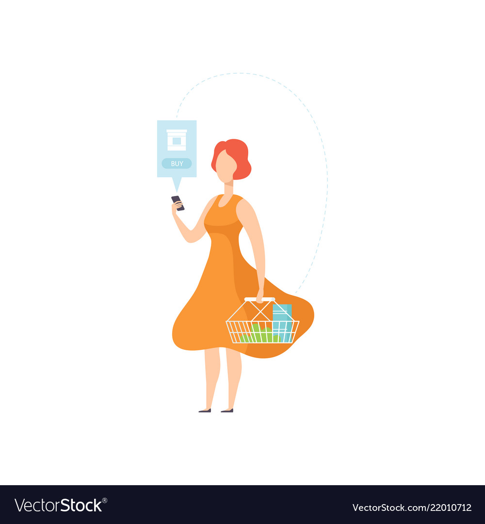 Woman shopping online a smartphone internet