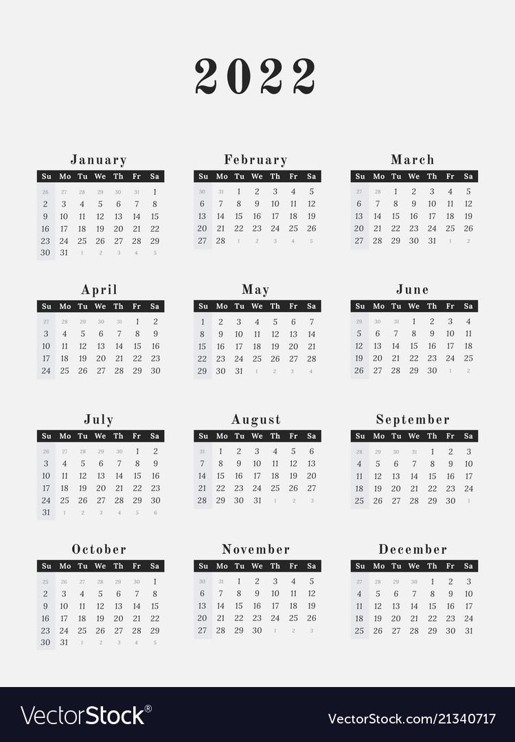 2022 Yearly Calendar.2022 Year Calendar Vertical Design Royalty Free Vector Image