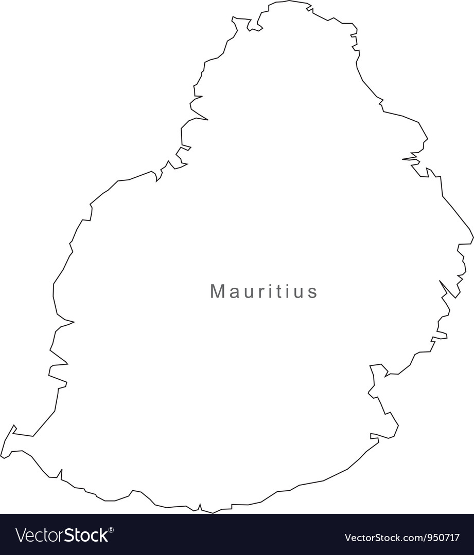 Black White Mauritius Outline Map Royalty Free Vector Image