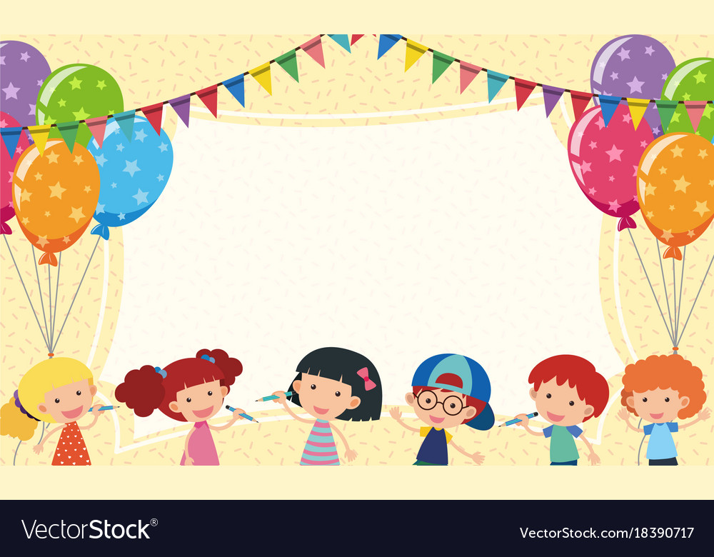 border template with kids and party balloons vector image