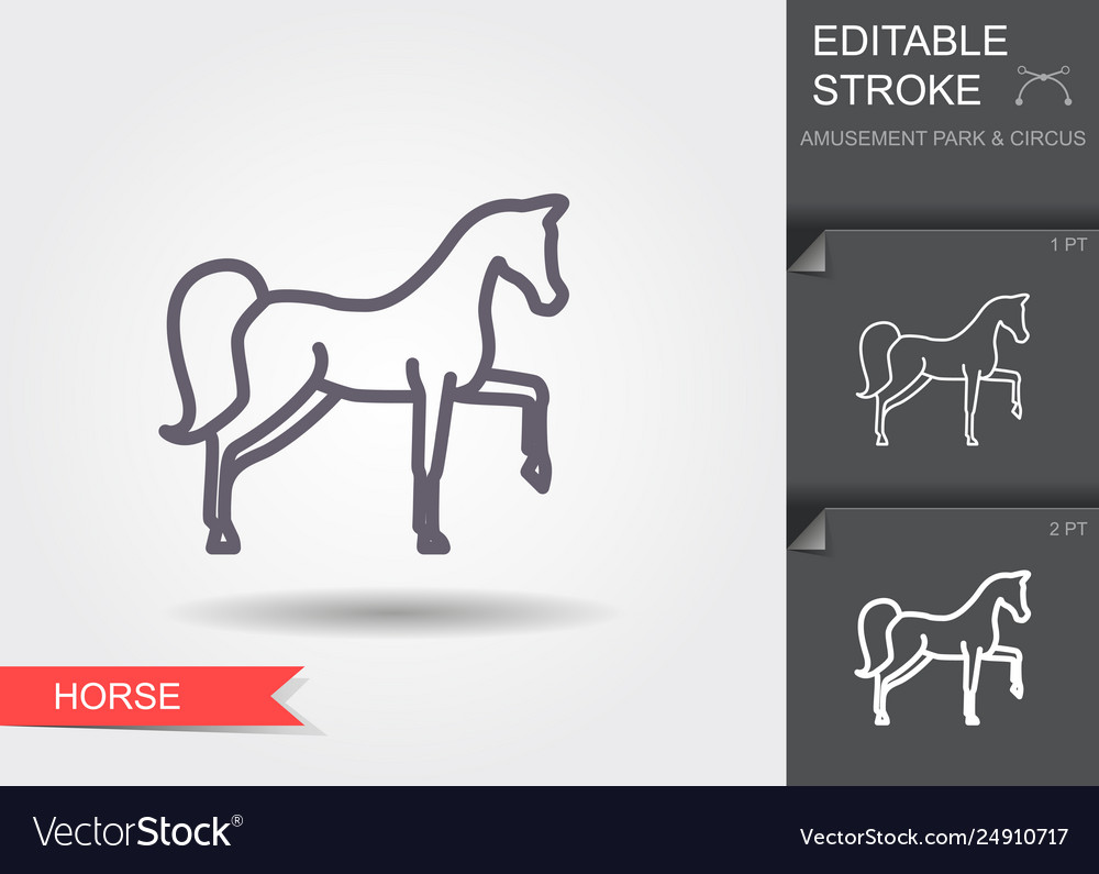 Circus horse line icon with editable stroke with
