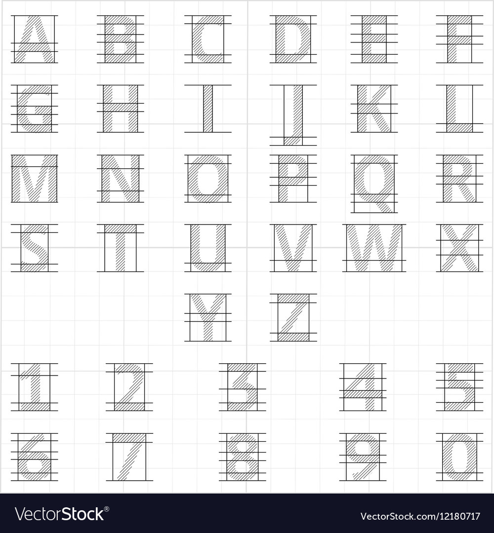 Drafting Paper Alphabet Drawing Sketch Vector Image