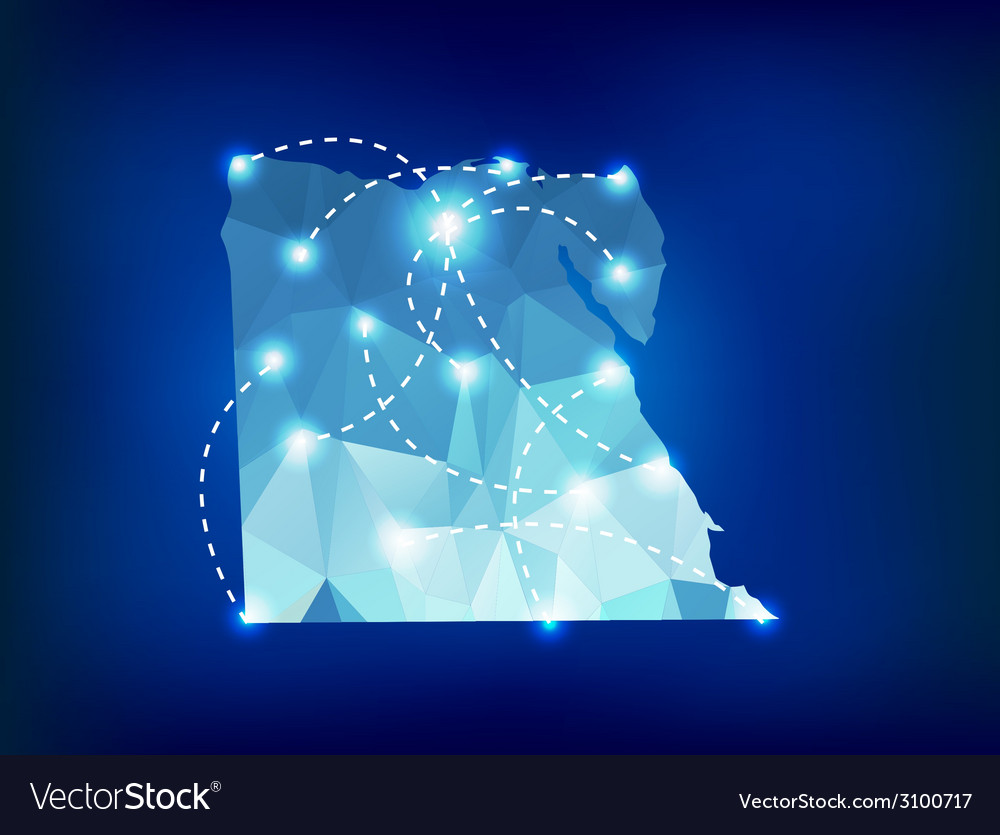 Egypt country map polygonal with spot lights