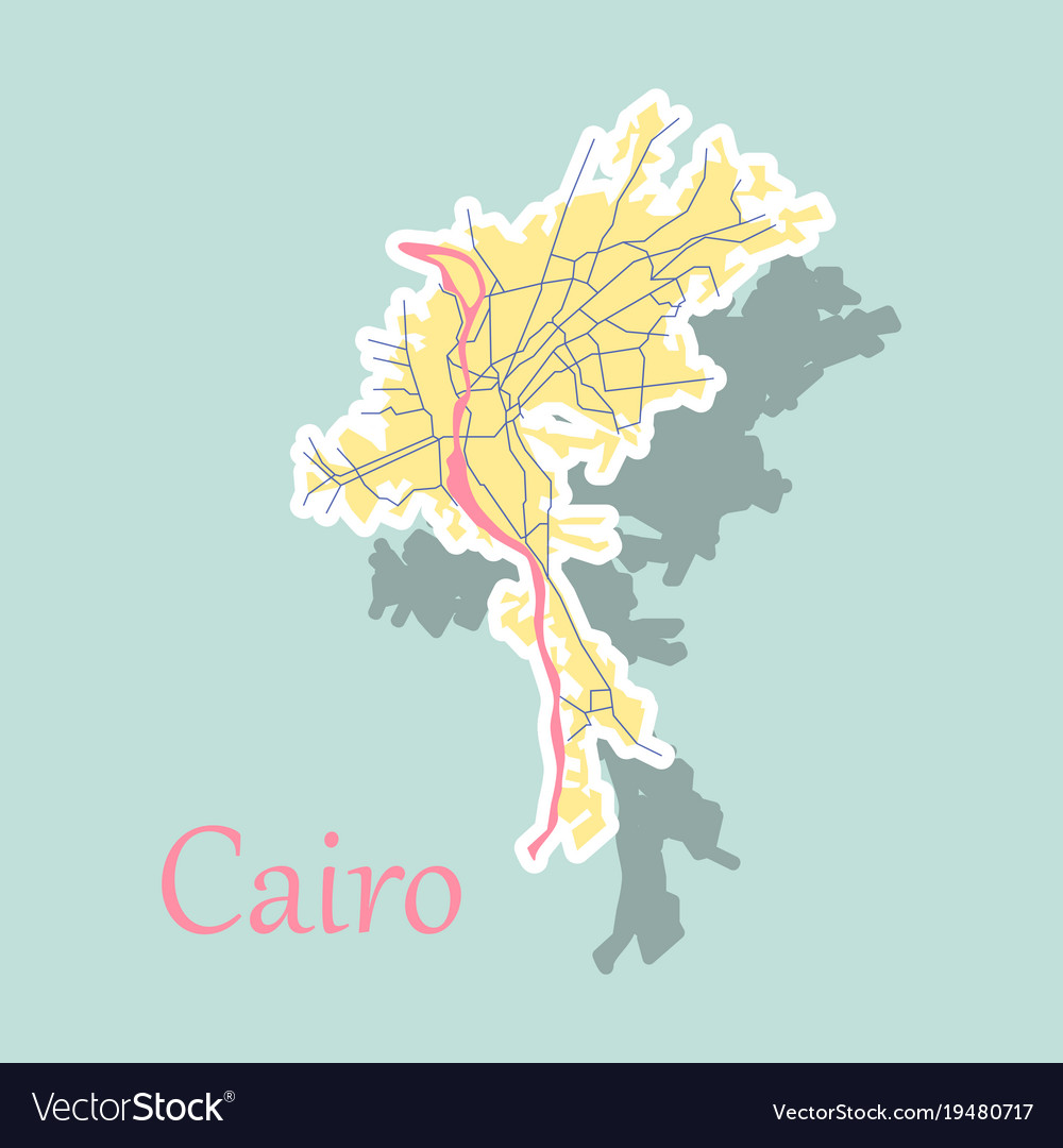 Map of cairo city streets egypt sticker view Vector Image