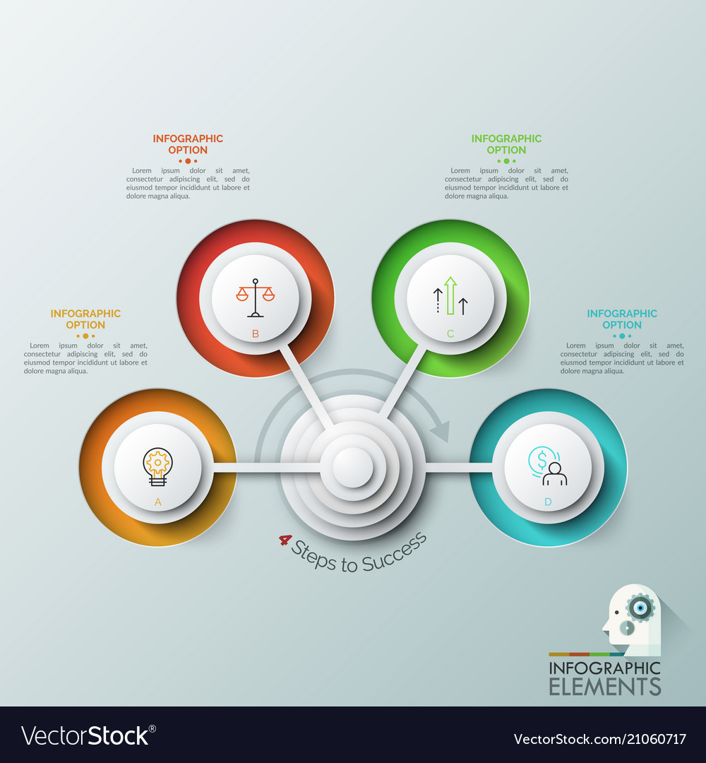 Modern infographic design template with 4 round