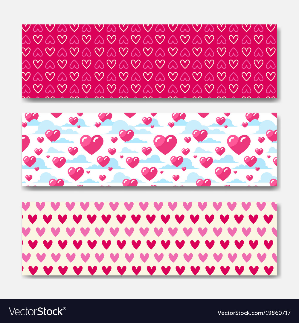 Pink hearts horizontal banners set decoration for