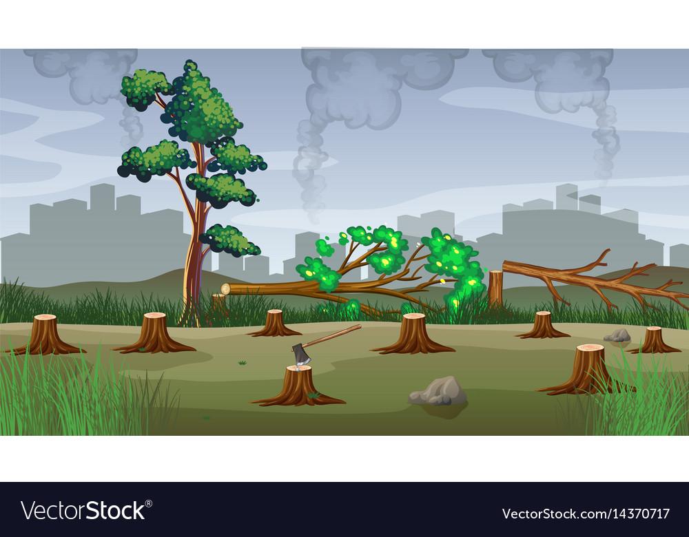 Polution theme with deforestation