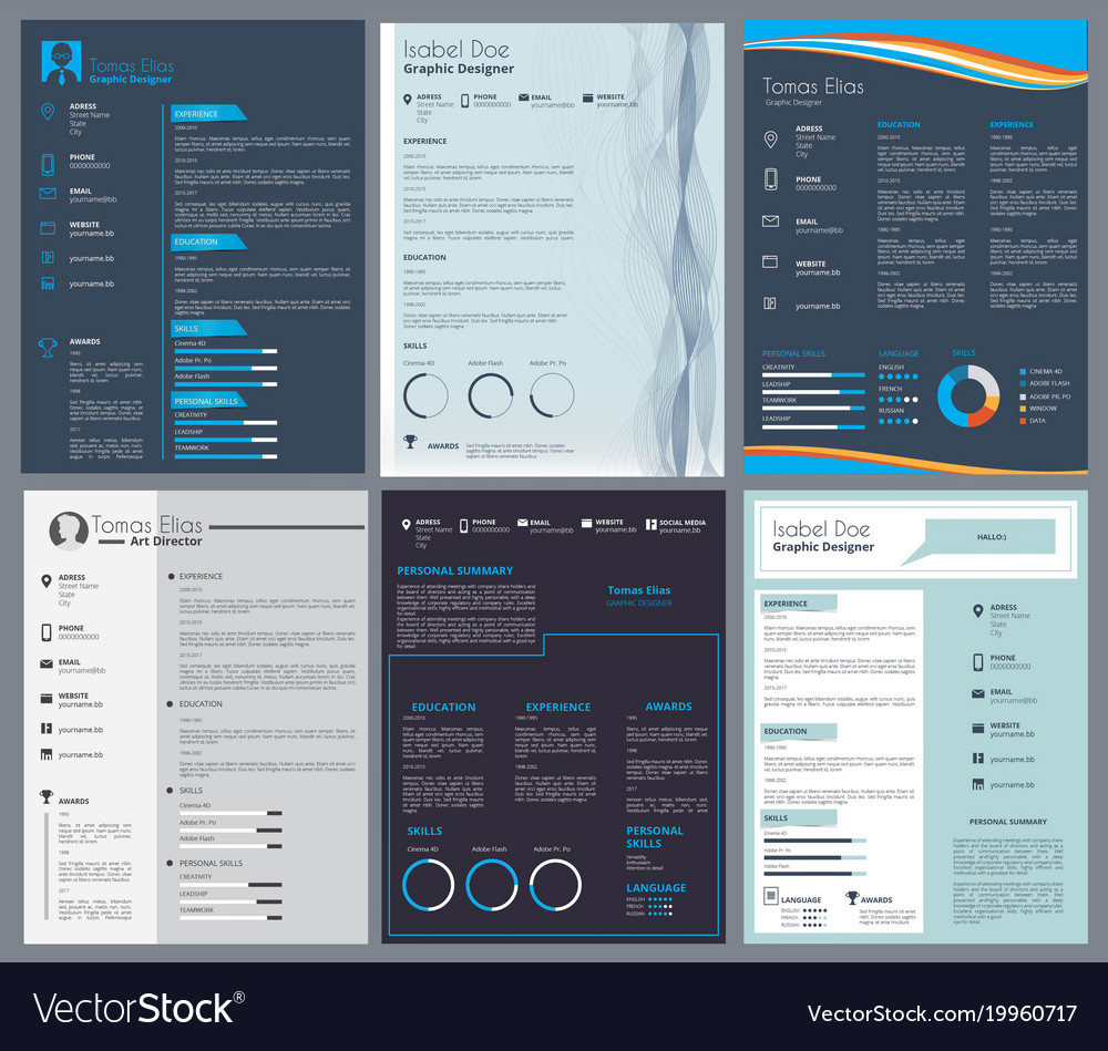 resume or curriculum vitae design template with vector image