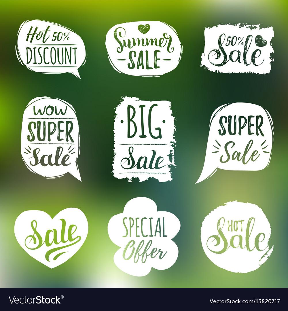 Set of sale lettering in comic speech