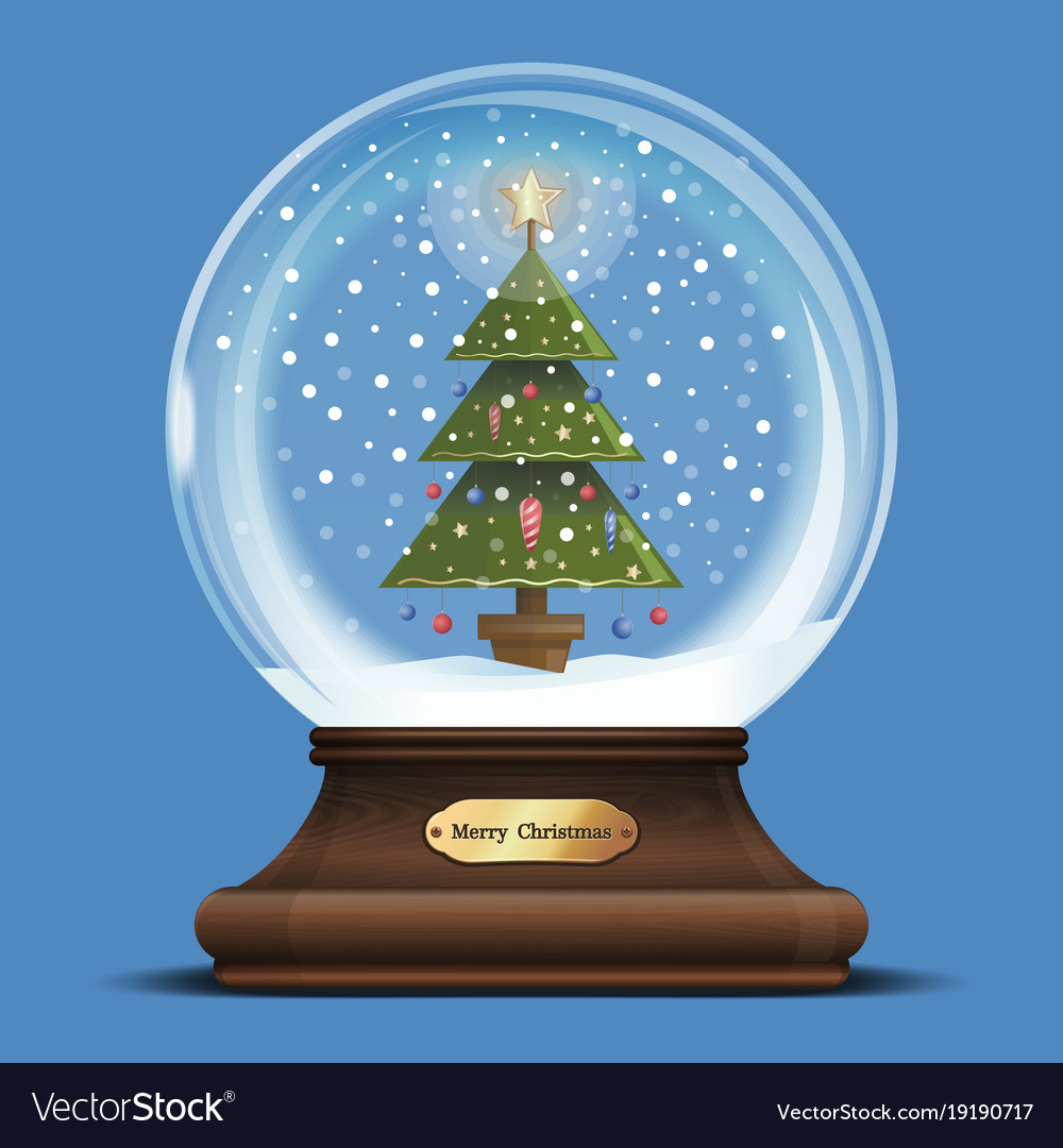 Christmas Tree Snow.Snow Globe With A Christmas Tree Inside